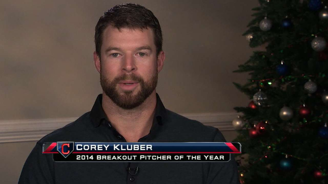 Kluber top pro athlete at Greater Cleveland Sports Awards