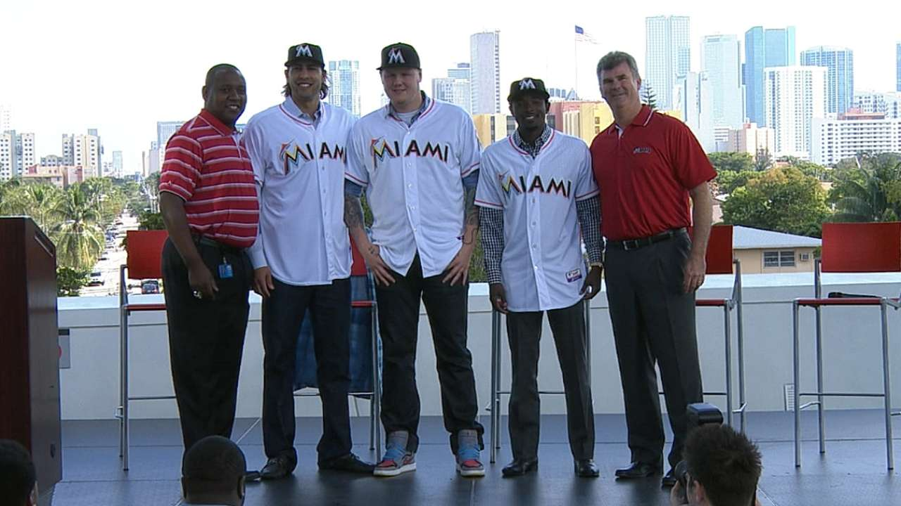 Marlins introduce new trio