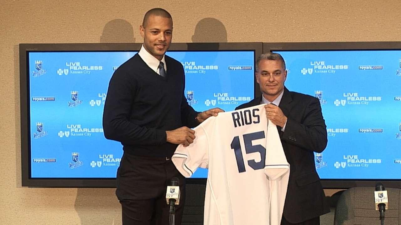 Royals introduce Alex Rios