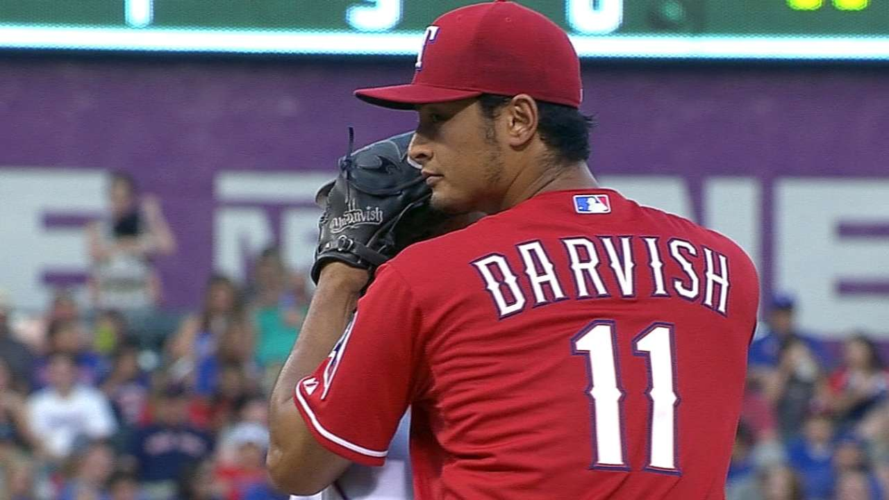Darvish Leaves Rangers' 5-4 Loss to Royals After 1 Inning