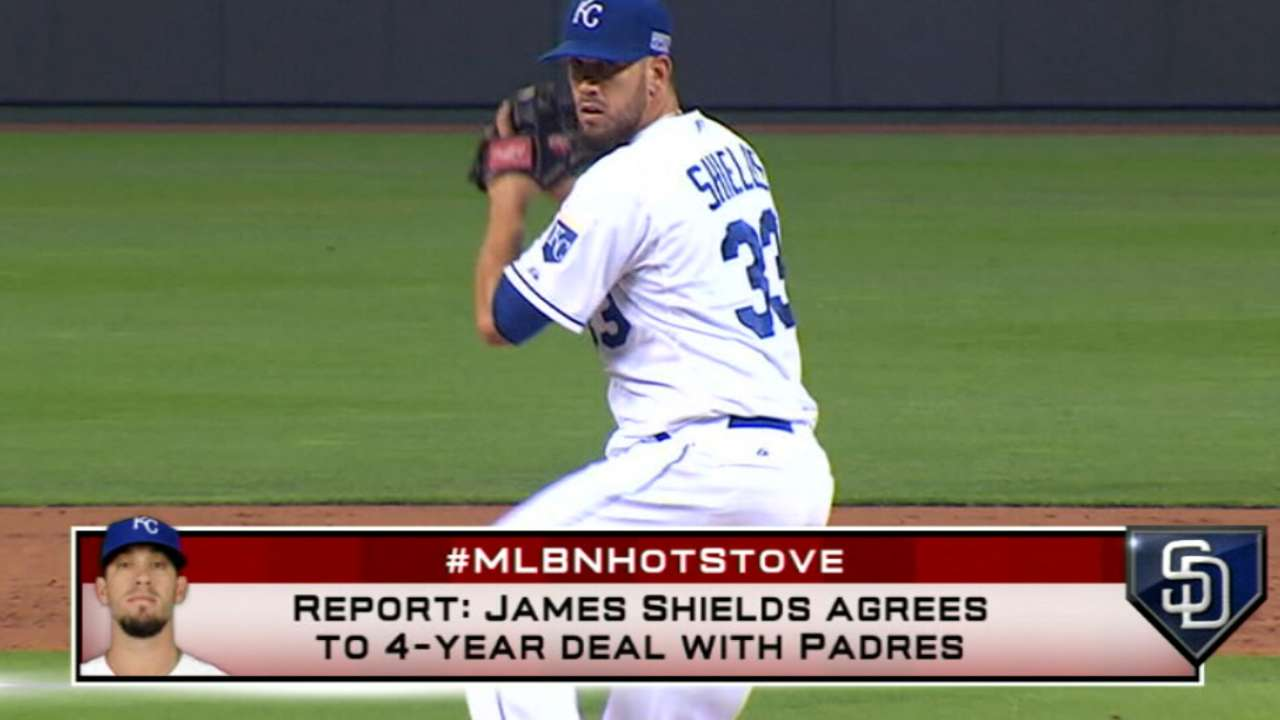 Hot Stove: Shields to Padres