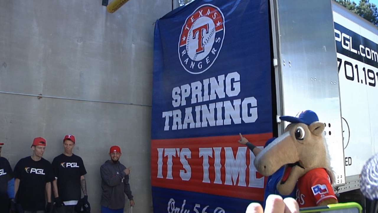 Sign of spring as Rangers' truck heads to Arizona