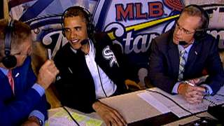 President Obama joins the broadcasters in the booth