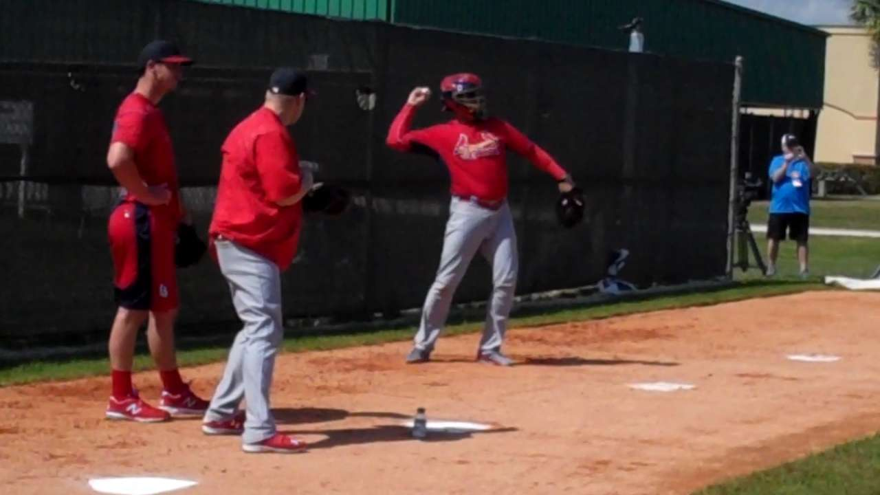 Matheny gets behind the plate