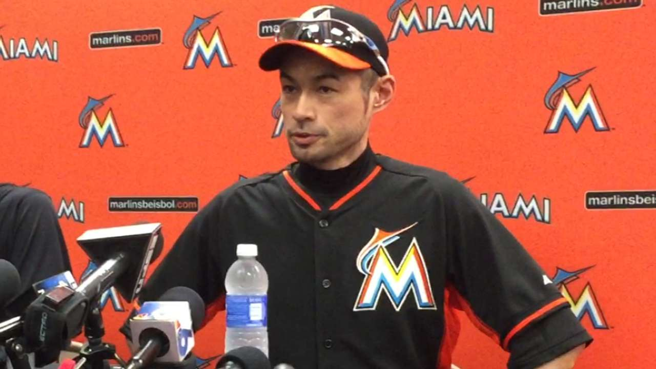 Ichiro wants name included in young Marlins outfield