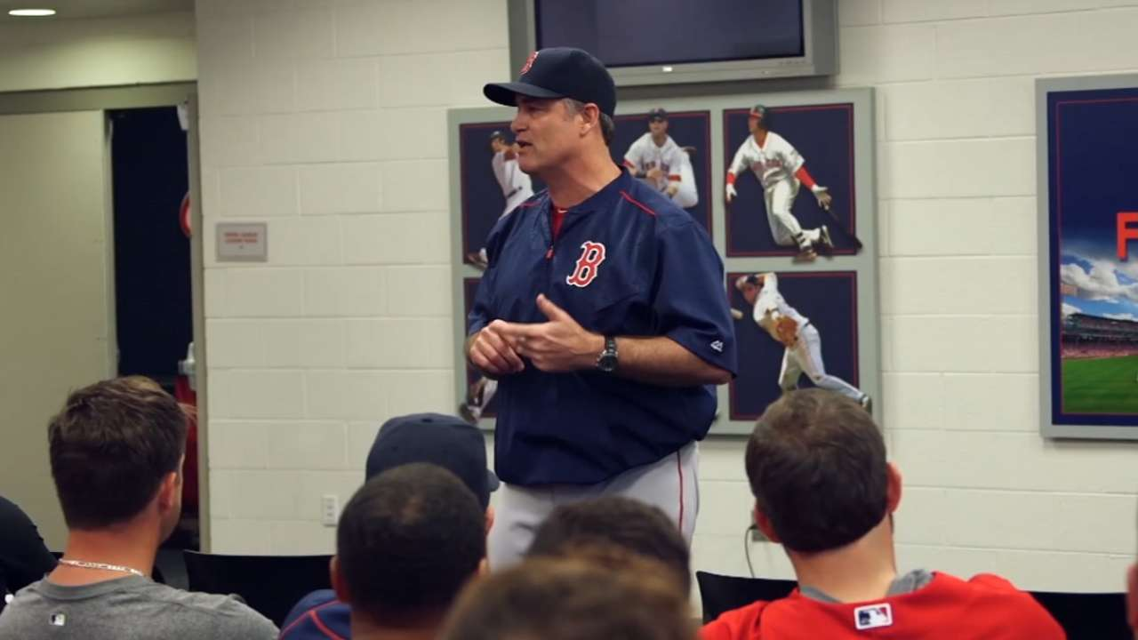 Farrell provides encouragement in team meeting