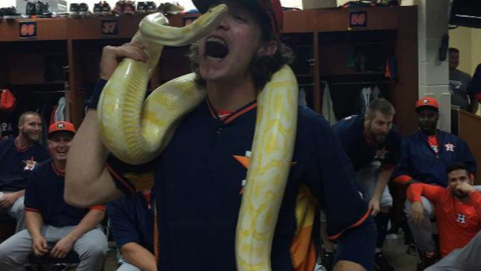 Sunshine, 11-foot Burmese python, pays visit to Astros clubhouse