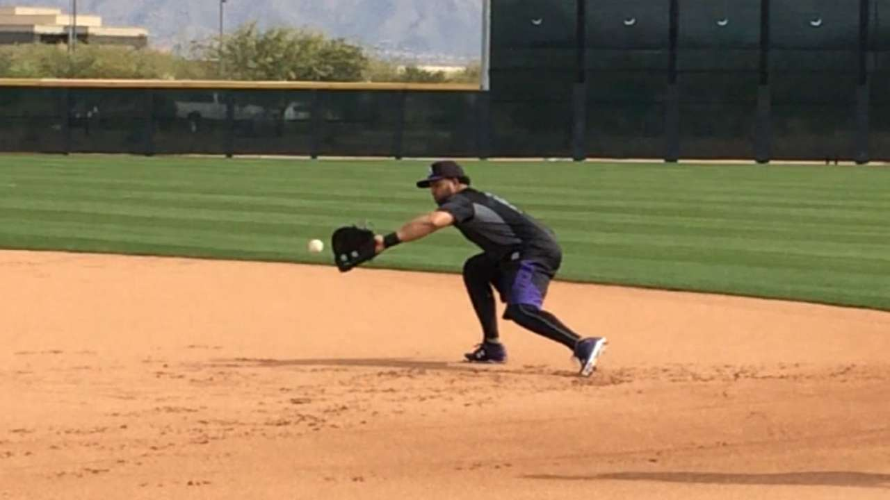 Rosario shows athleticism in work at first base