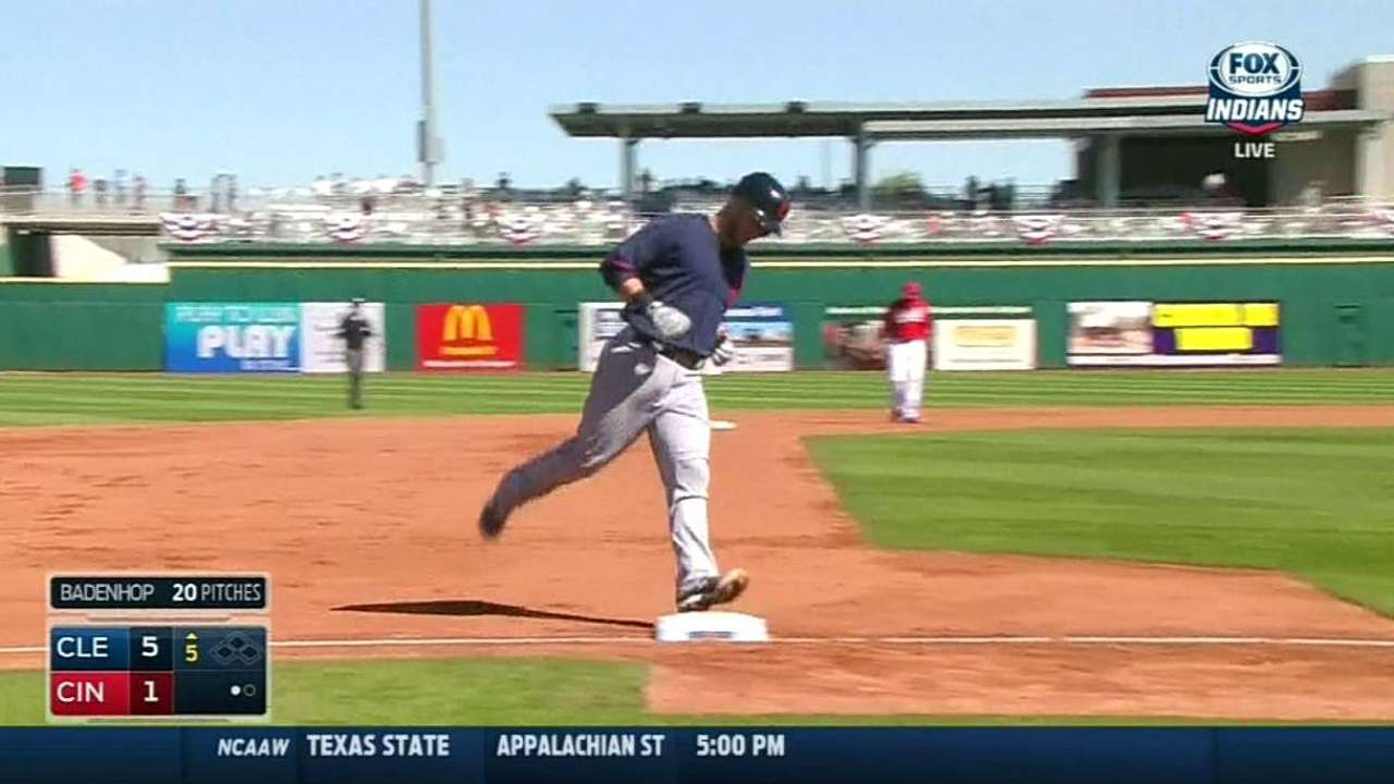 Gomes' first spring hit clears left-field wall