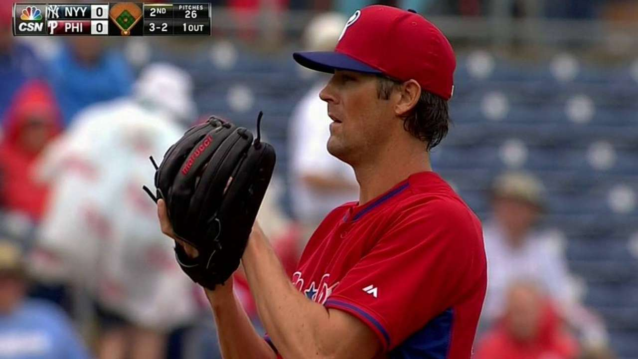 Hamels allows one hit in Phillies' loss to Yankees