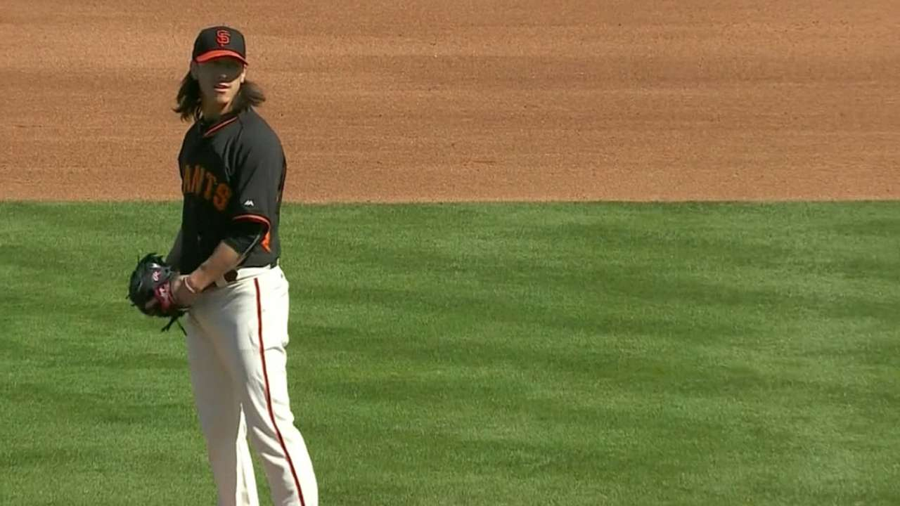 Lincecum fans five in two frames
