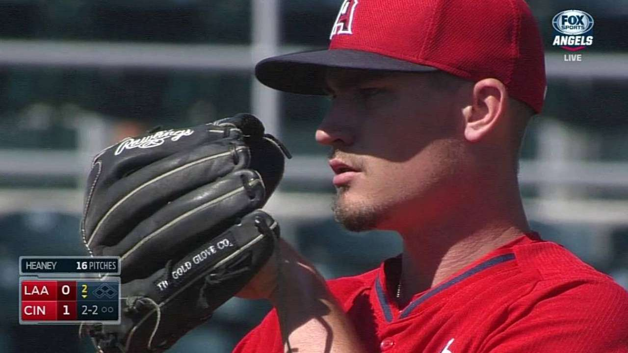 Heaney has solid Angels debut in loss to Reds