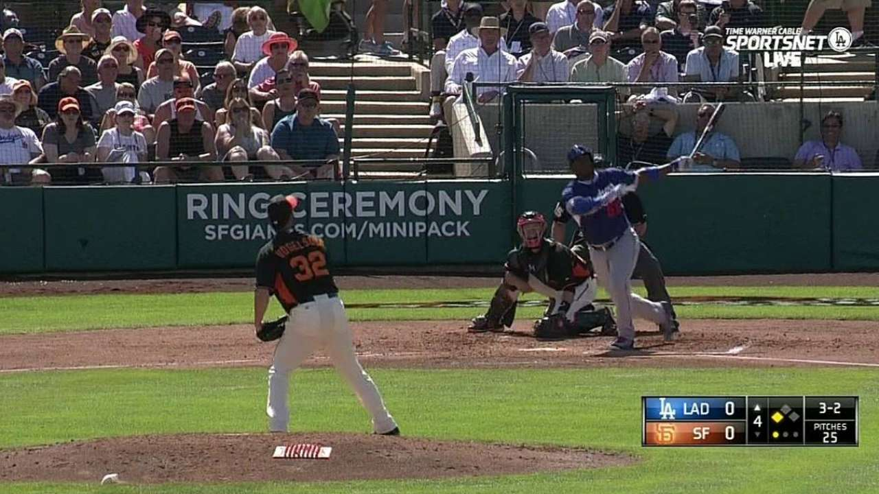 Puig hits first spring homer, stands out on defense