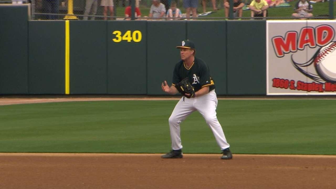 Ferrell cracks up A's as starting shortstop