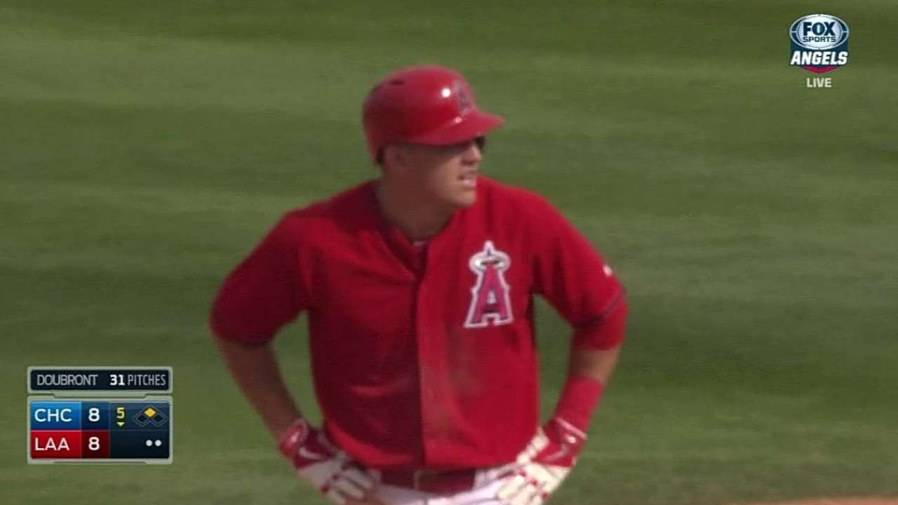 Ferrell fills in for Trout, who has huge day at plate