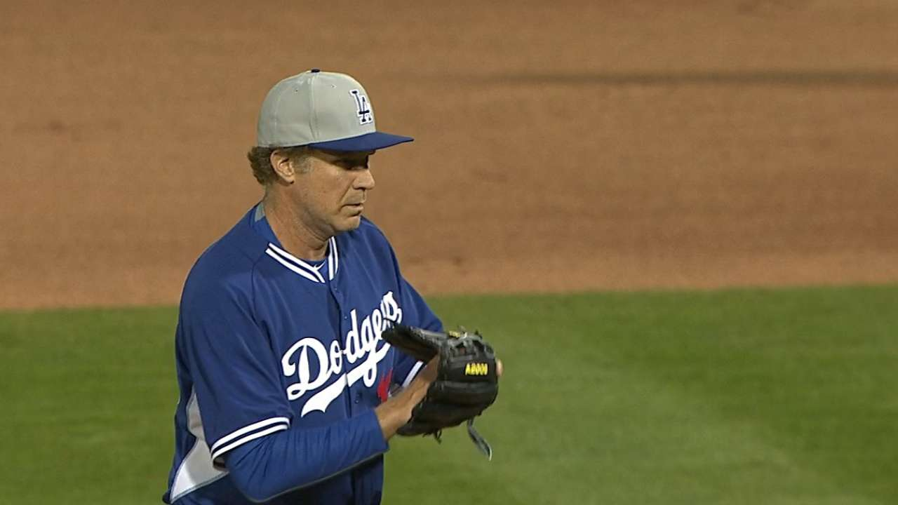 Ferrell pitches for the Dodgers