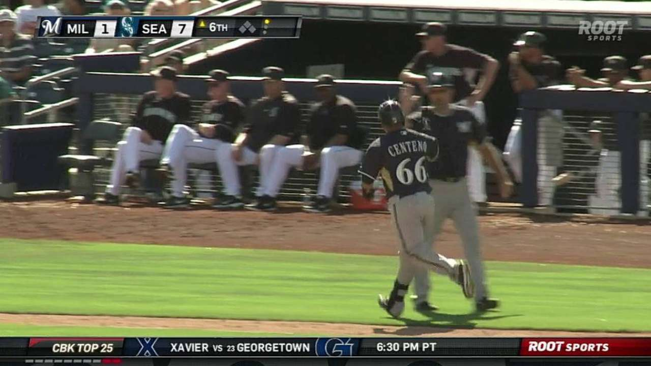 Centeno homers for short-handed Brewers