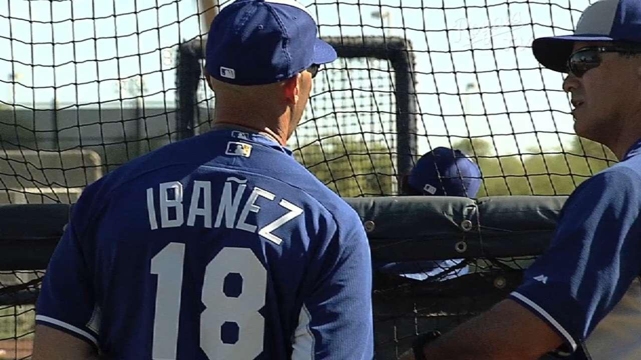 Ibanez pays visit to Royals camp, dons uniform
