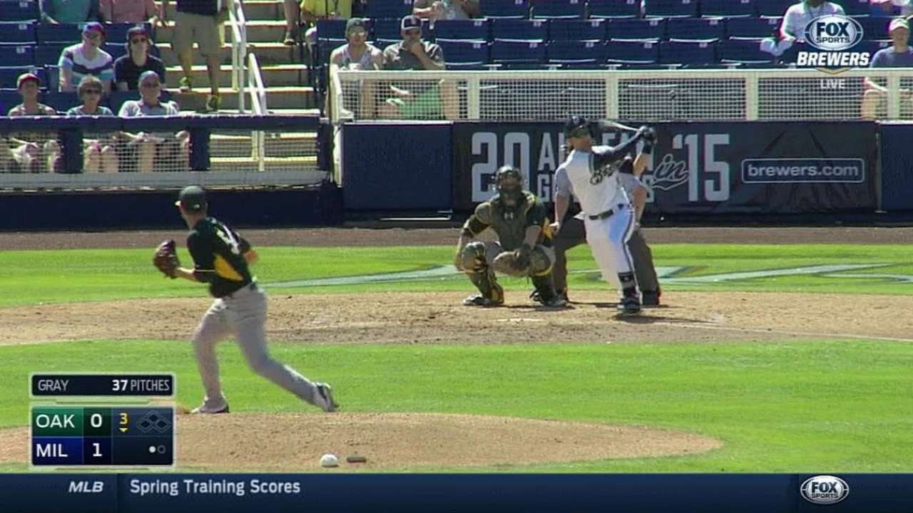 Lucroy's first spring hit leaves the yard