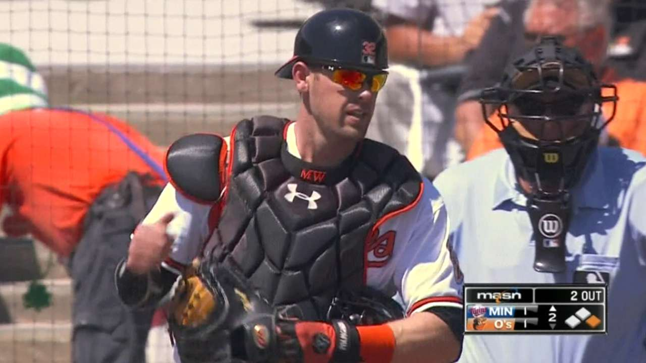 Wieters' first fielding chance