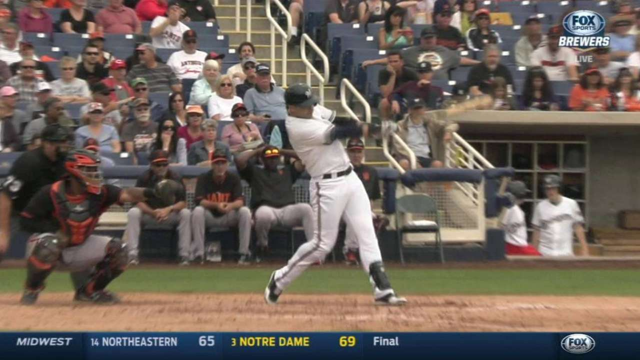 Braun breaks out of spring slump with first hit