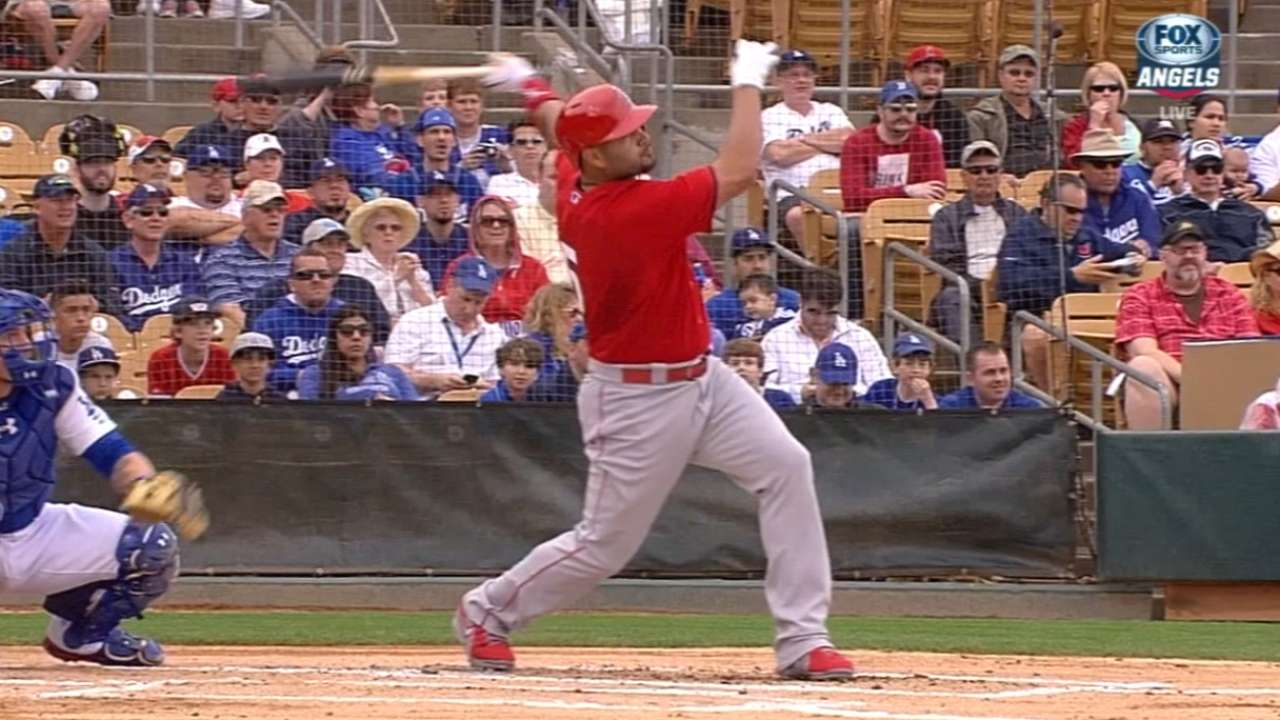 Pujols blasts first-inning shot for first spring homer