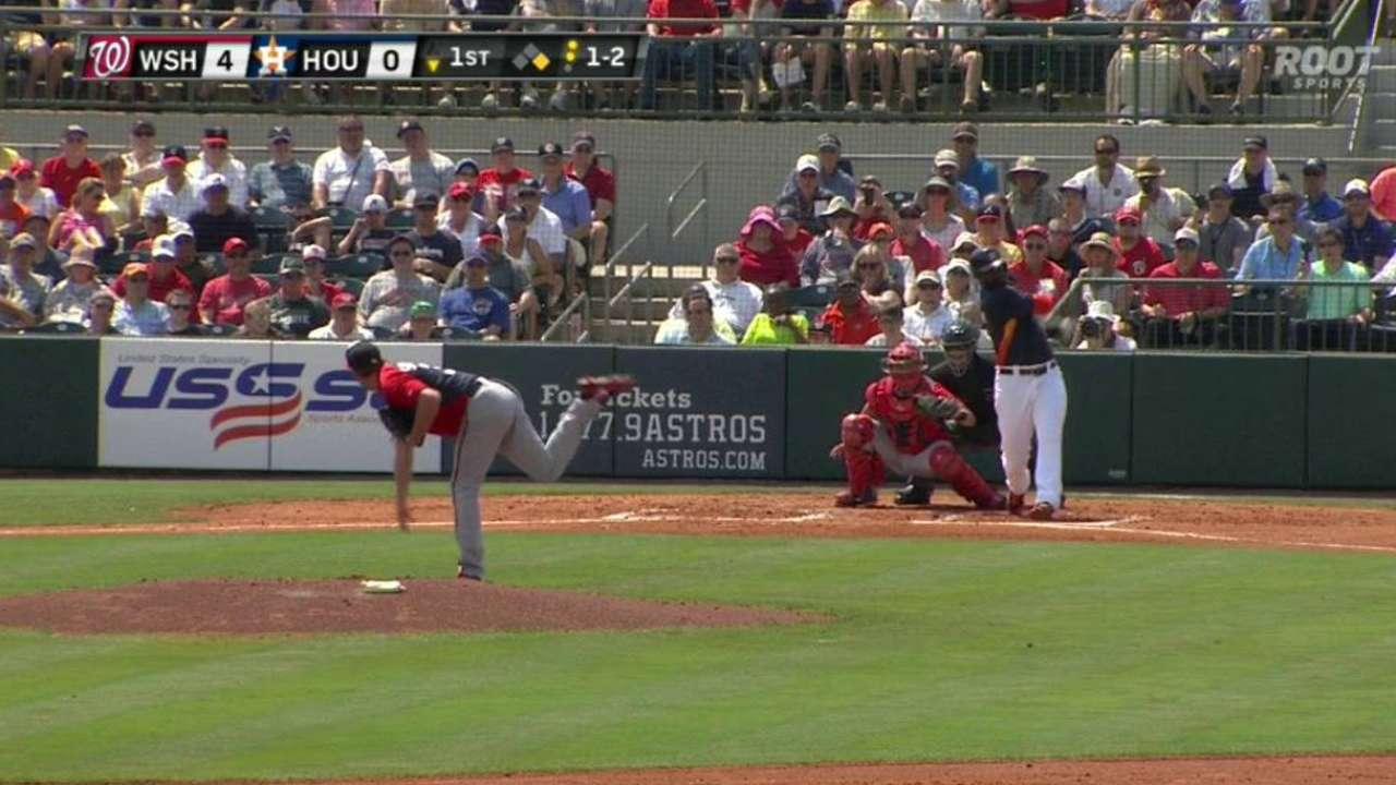 Scherzer strikes out six on mound, walks at plate