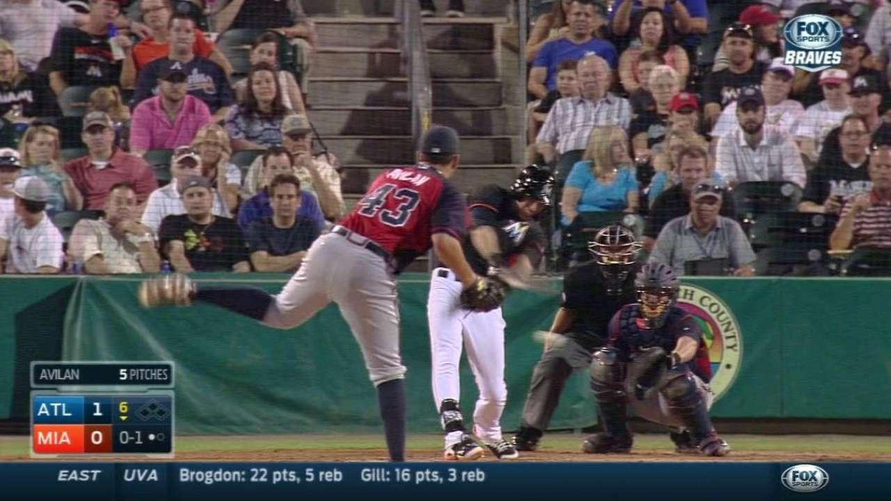 Yelich breaks up no-hitter