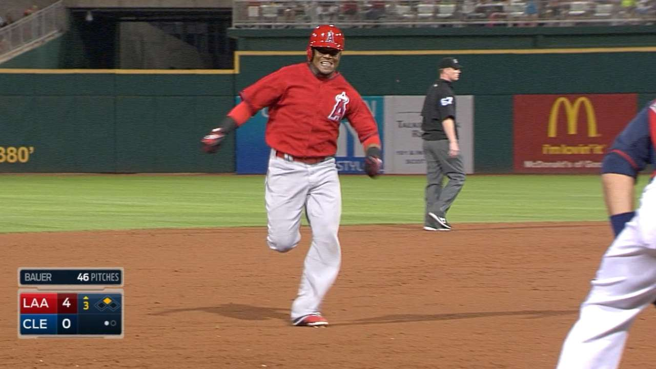 Angels' triple-threat in third inning topples Tribe