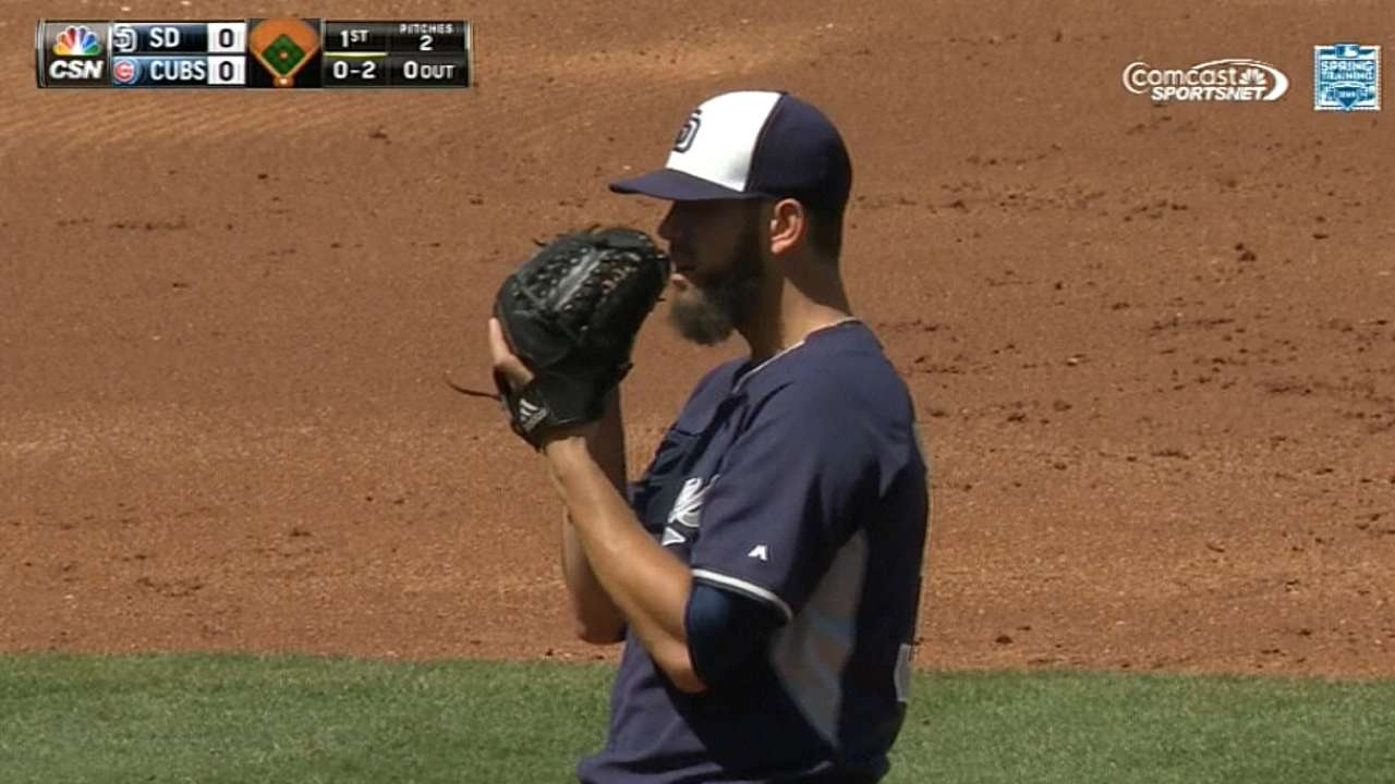 Shields fires five no-hit frames in Padres' win