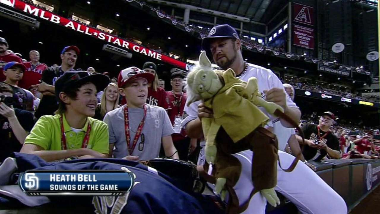 Bell hangs with fans