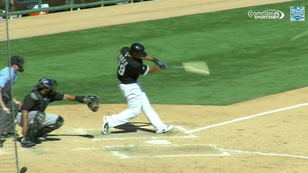 Abreu goes deep for first time in loss to Rockies