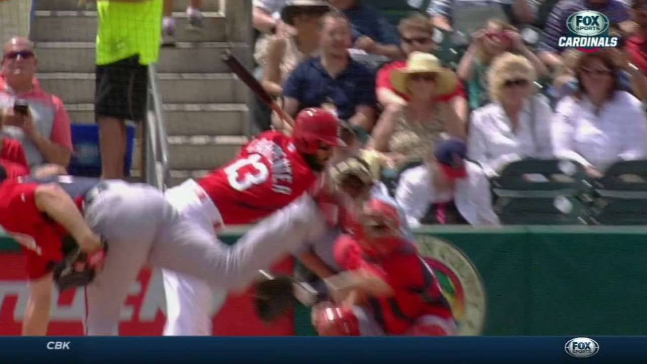 Carpenter hit by pitch