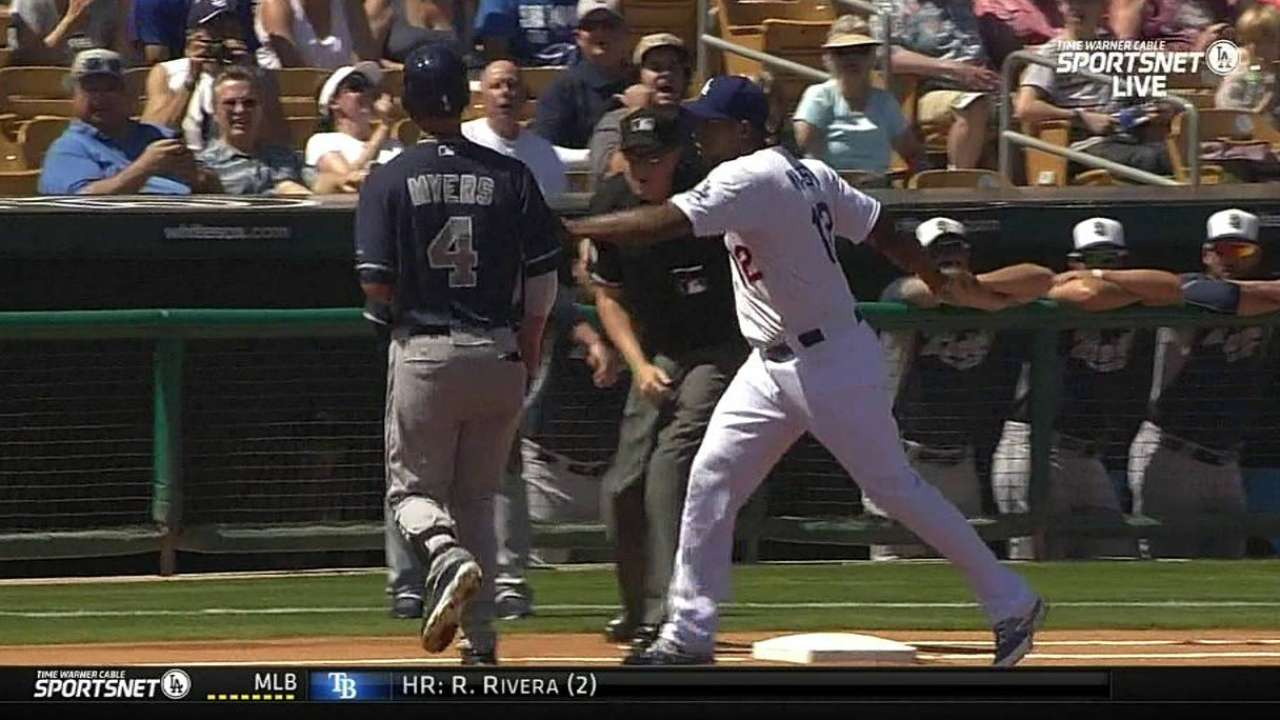 Puig throws out Myers