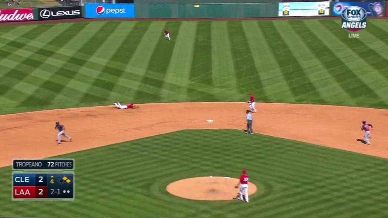 Tomlin allows a lot of contact, but only two runs vs. Angels