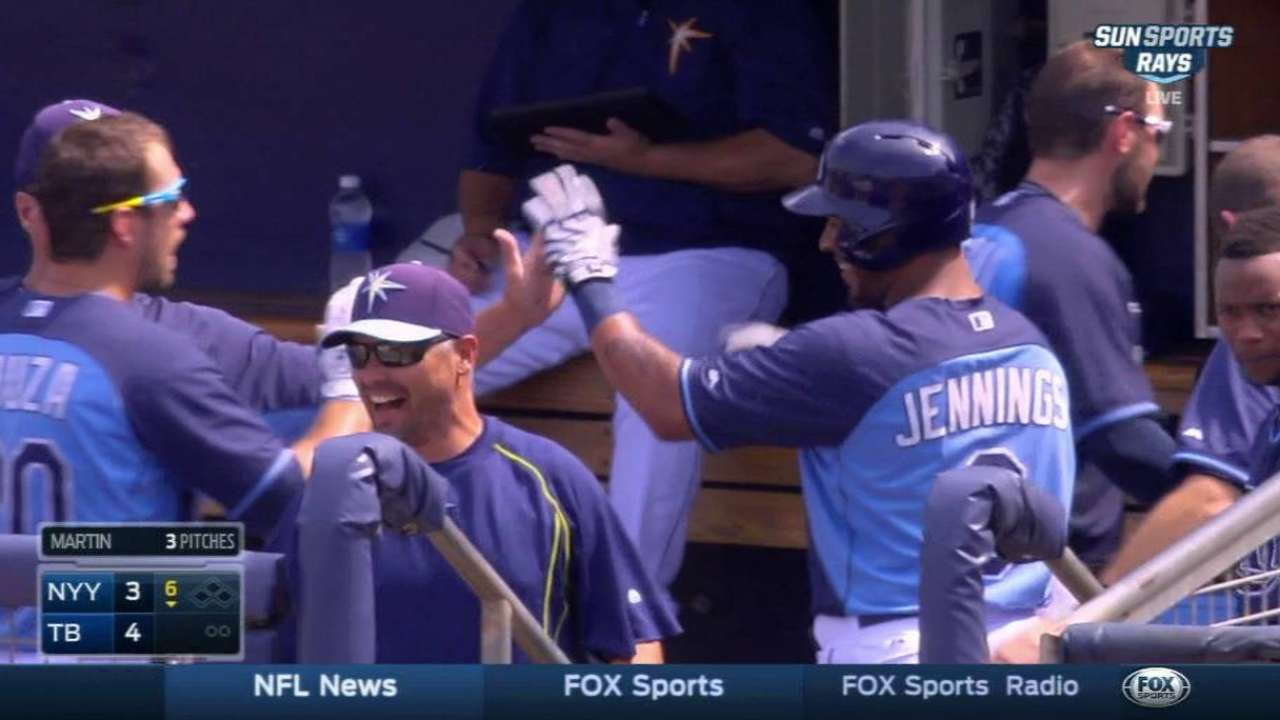 Jennings' solo homer in the 6th