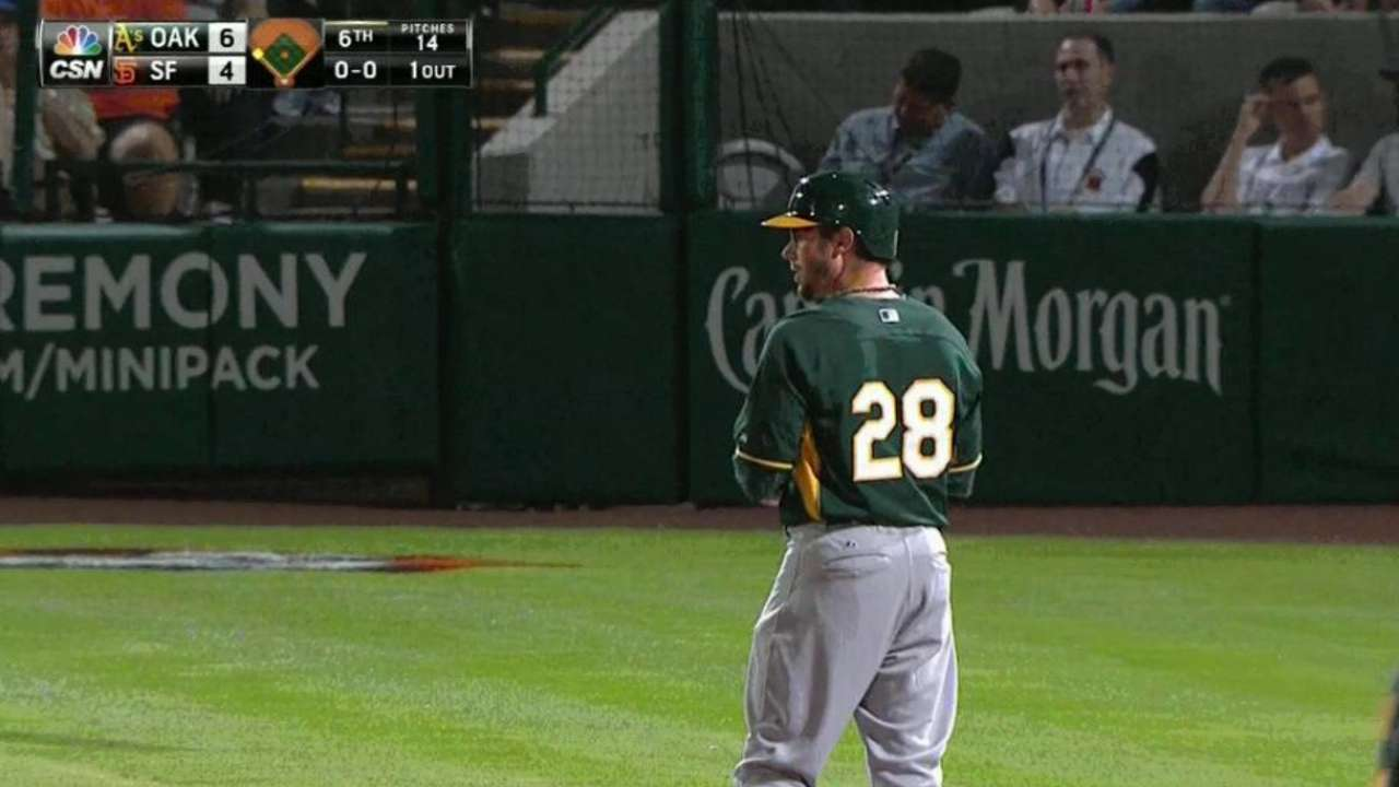 Sogard's tiebreaking triple carries A's past Giants