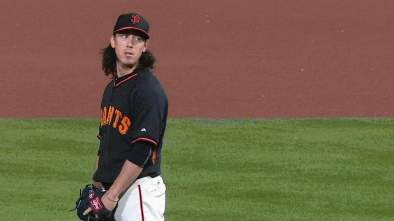 Lincecum racks up 7 K's in solid start against A's