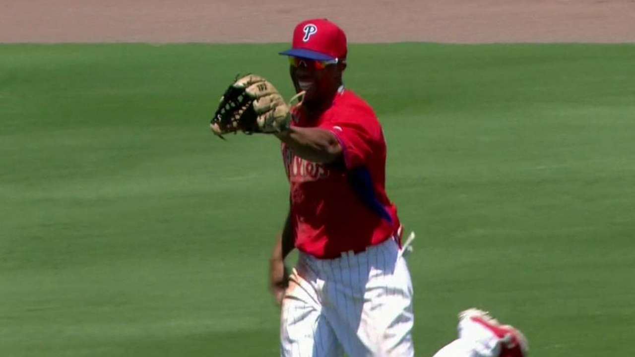 Revere breaks promise with leaping catch to rob Davis