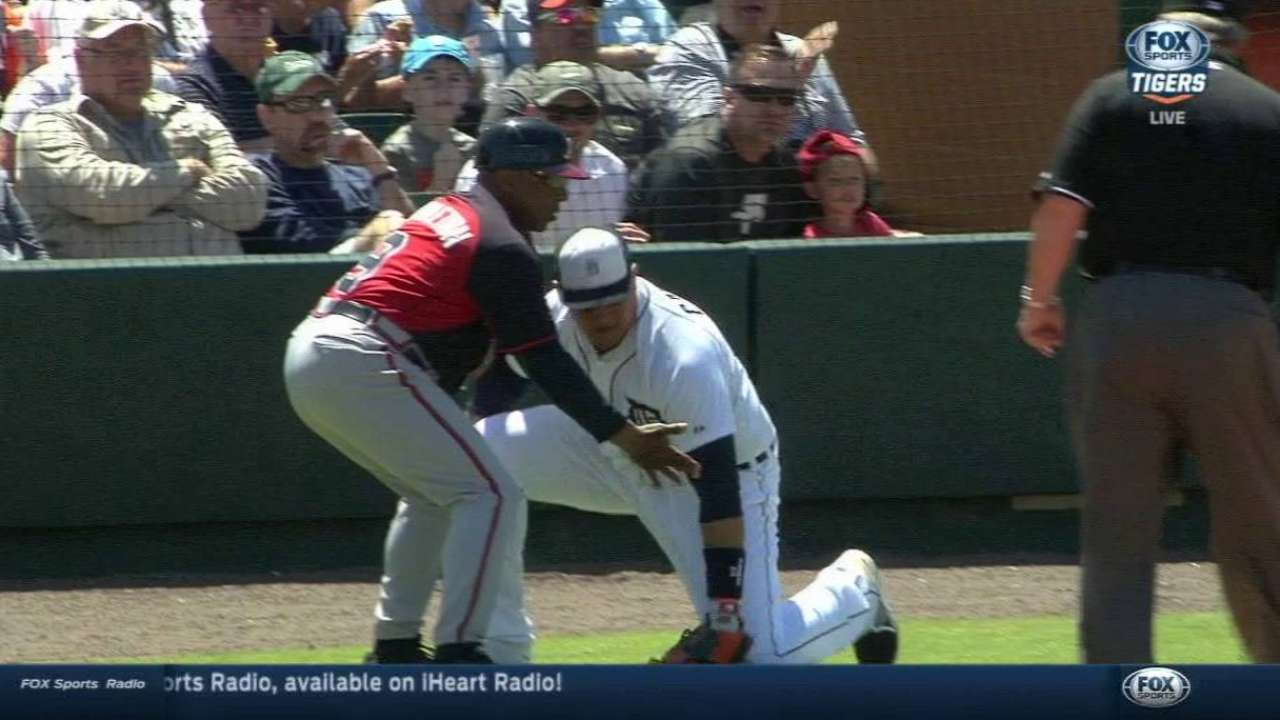 Cabrera OK after taking tumble at first base