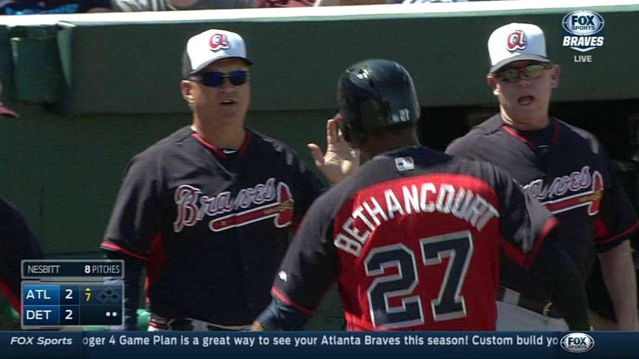 Bethancourt's homer highlights Braves' rally vs. Tigers