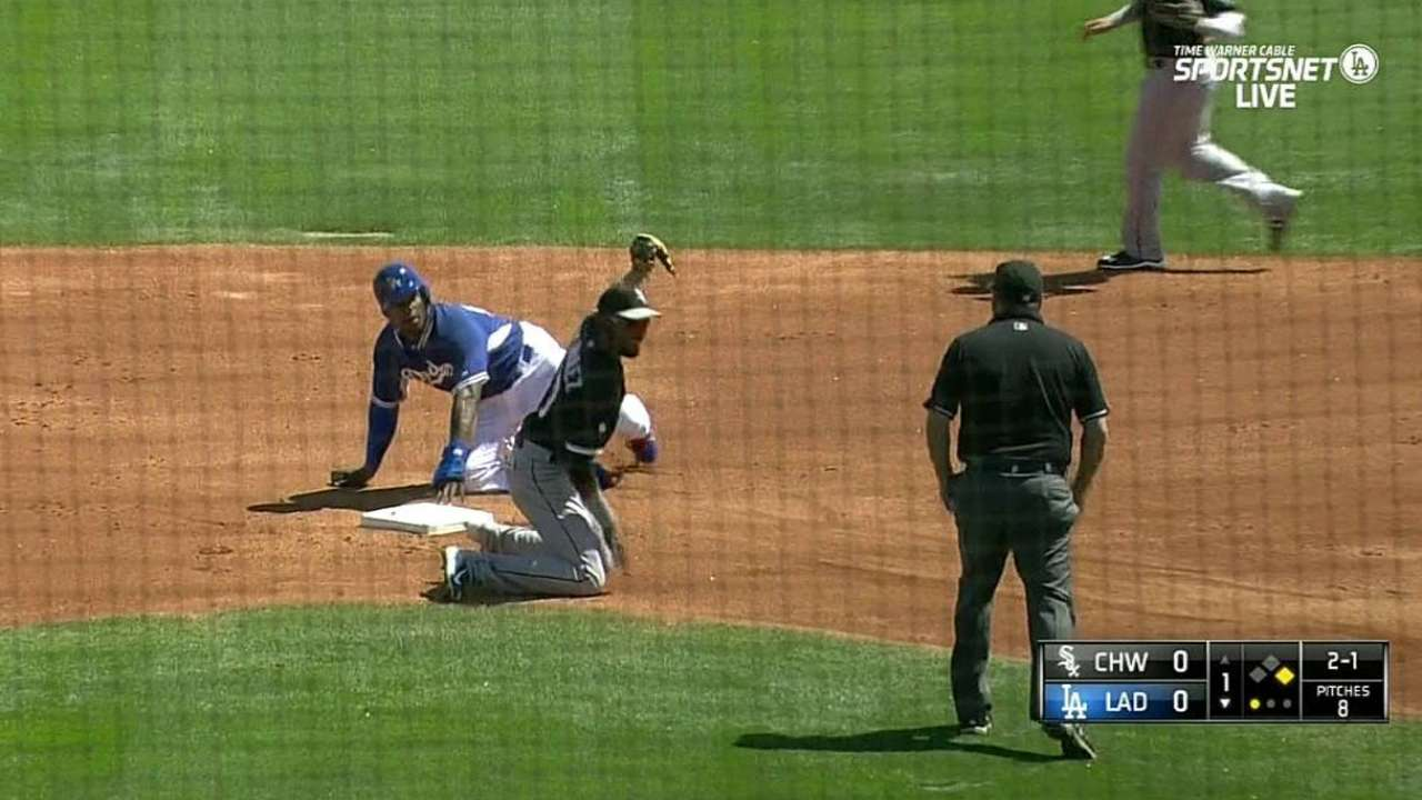 Puig steals second in the 1st