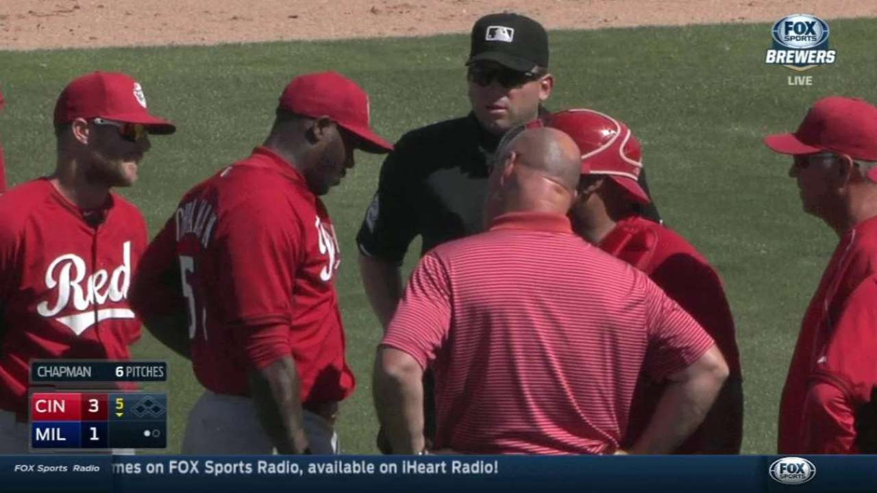 Chapman fine after early exit vs. Brewers
