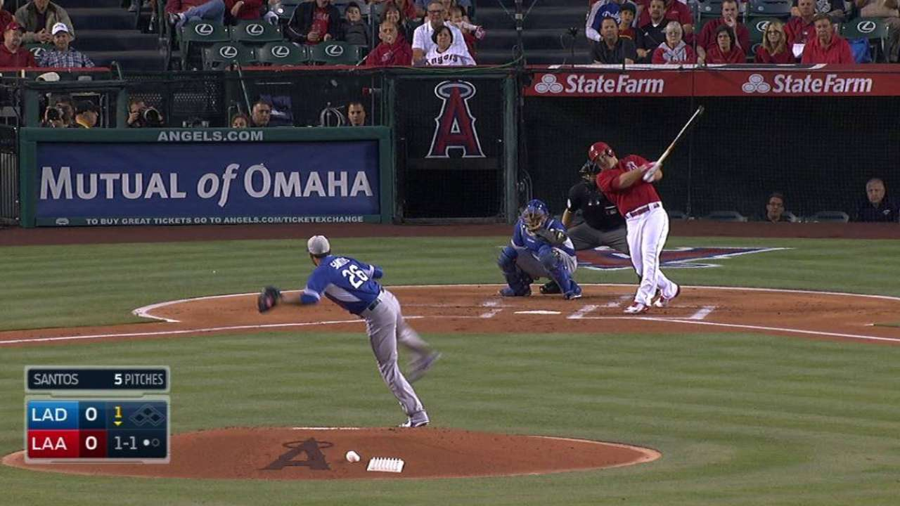 Trout picks up where he left off in first game at Angel Stadium