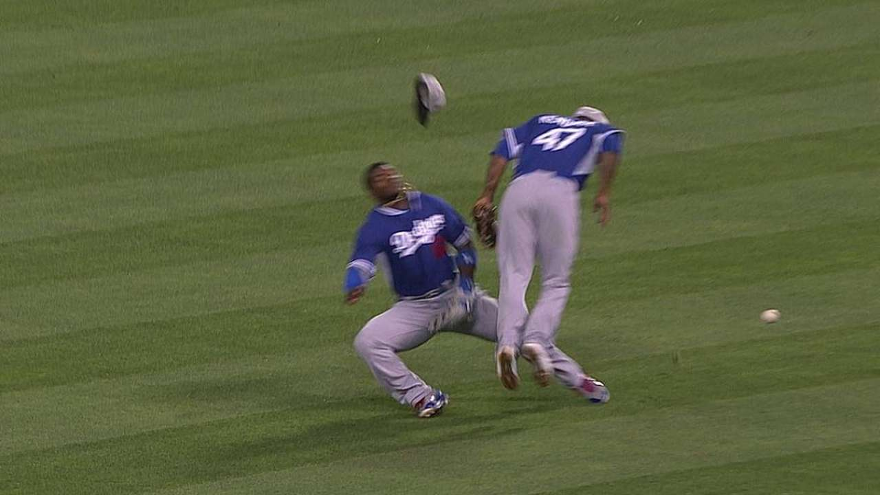 Puig back in lineup, no worse for wear after collision