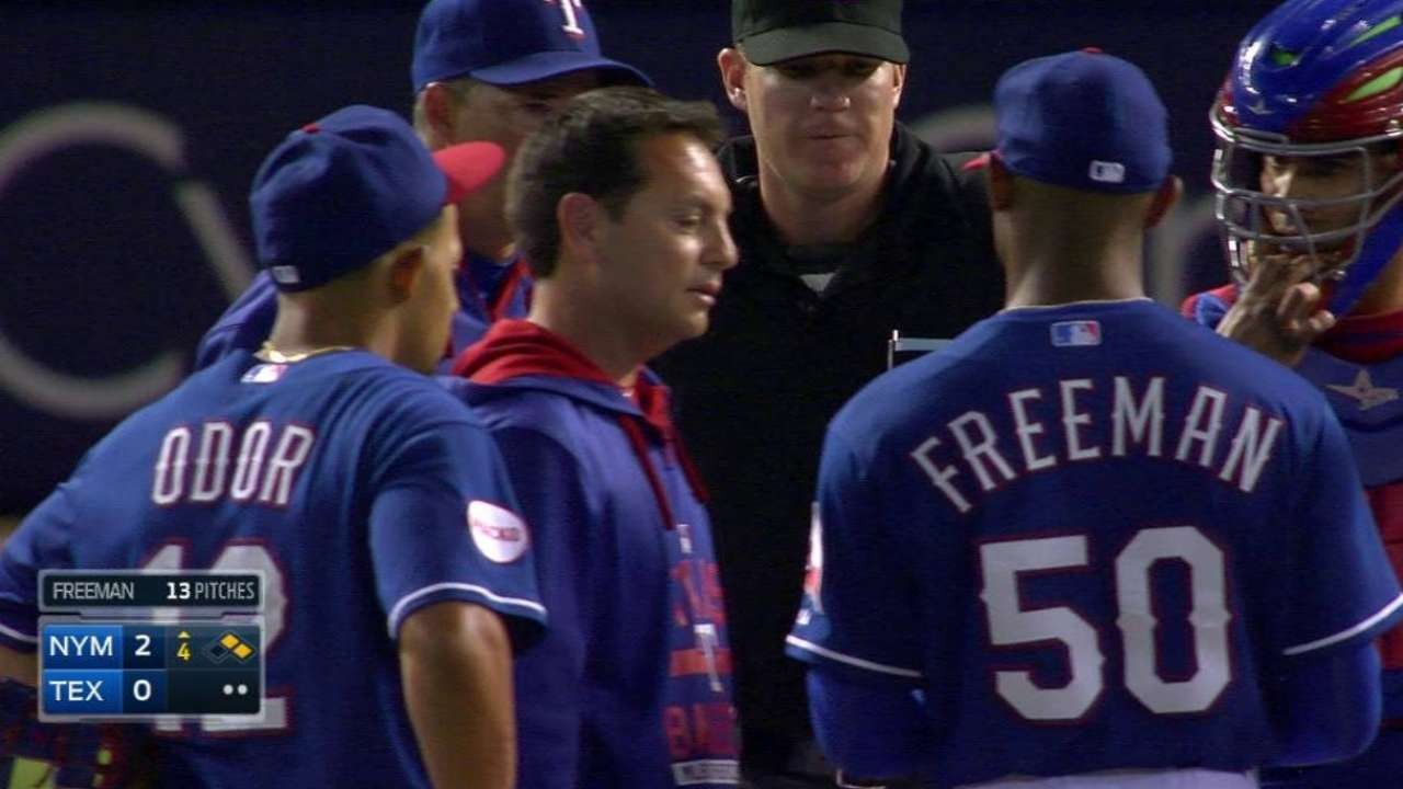 Rangers add another lefty to 'pen, call up Freeman