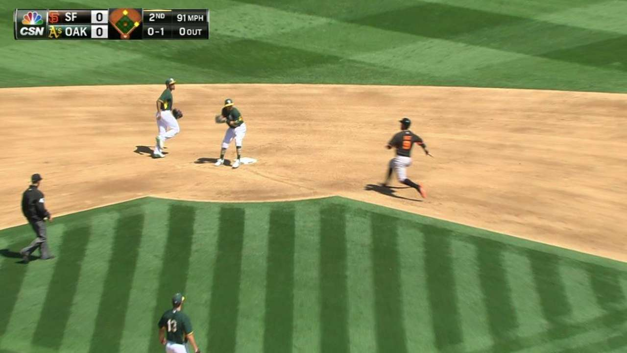 A's bid farewell to spring as Giants take Bay Bridge Series