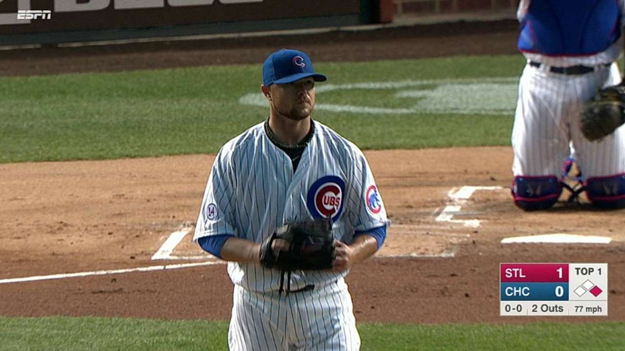 Lester's first Cubs strikeout