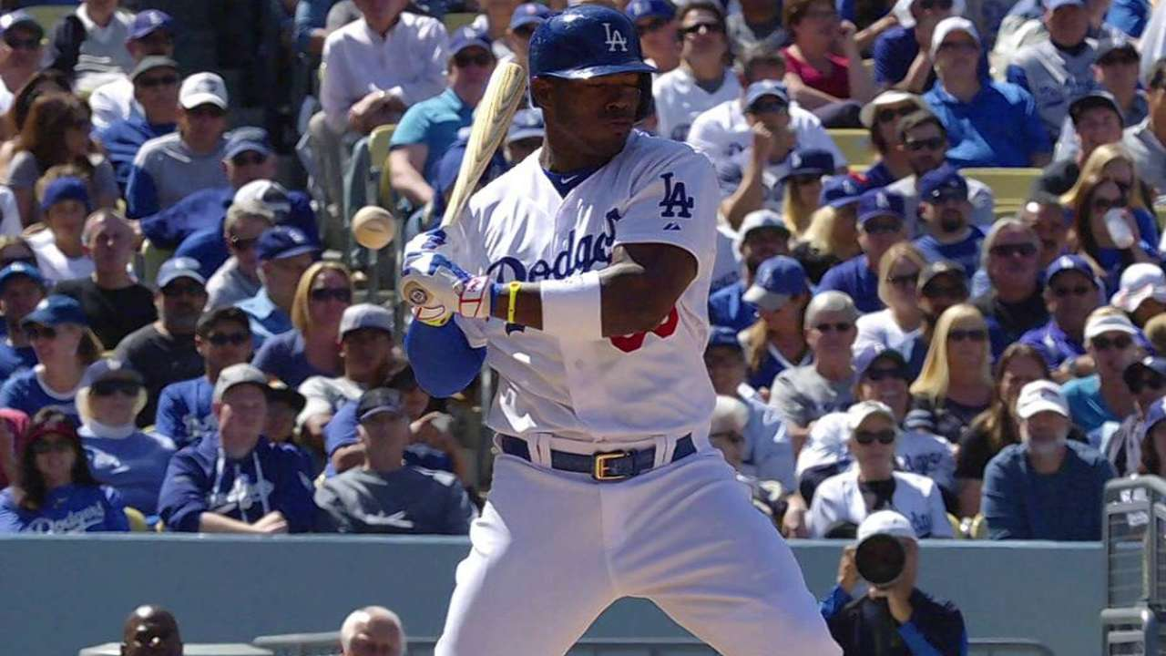 Puig hit by a pitch