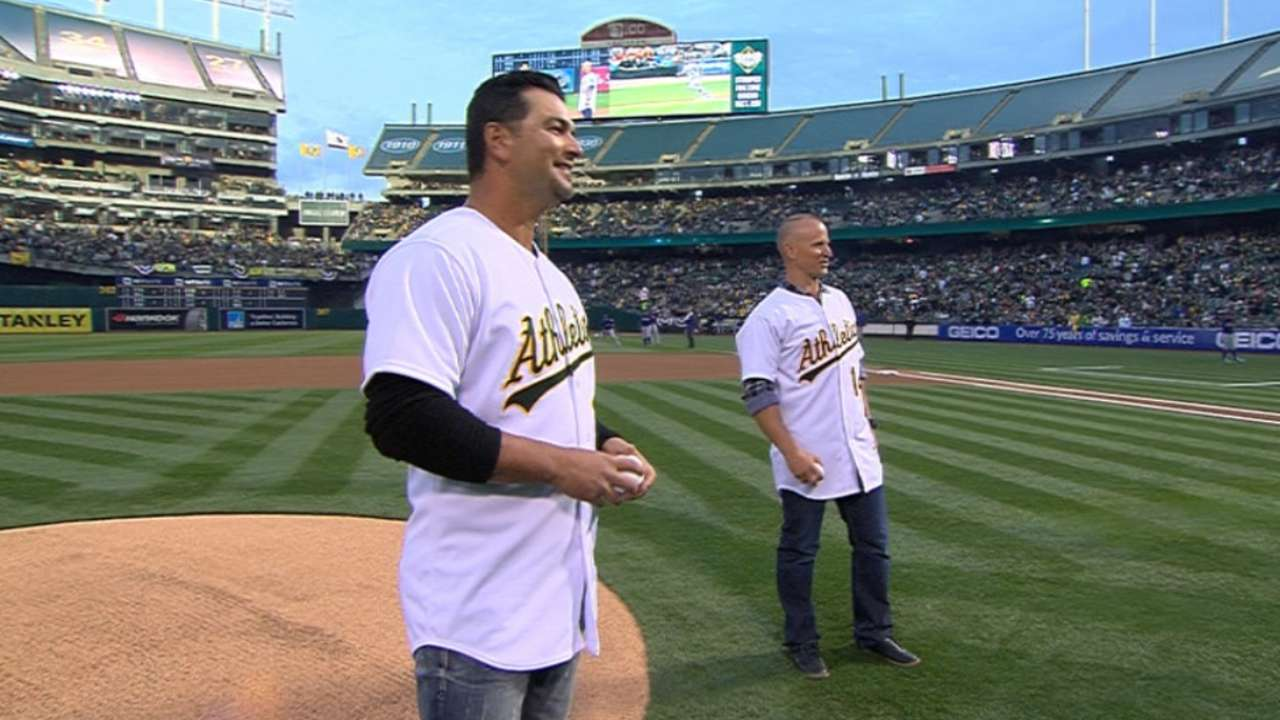Former A's Ellis, Chavez take part in Opening Night festivities